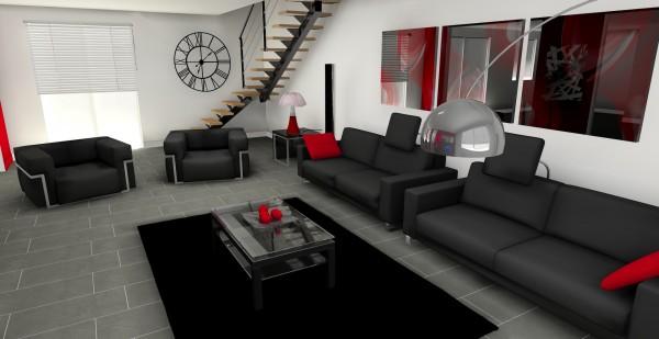 vue sur l'escalier réalisé sur mesure concernant l'extension d'une maison individuelle, dans une ambiance contemporaine et intemporelle